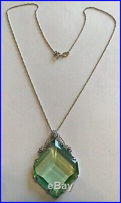 Vintage Art Deco Sterling Silver Green Rhinestone Filigree Pendant Necklace