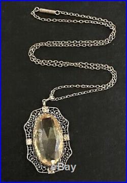 Vintage Art Deco Sterling Silver Necklace Carved Citrine Pendant 18 Chain