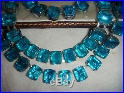 Vintage Art Deco Vivid Turquoise Baguette CRYSTAL NECKLACE BRACELET SET