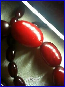 Vintage Cherry Amber Bakelite Necklace in art Deco style 47 grams