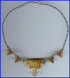 Vintage Czech Art Deco Golden Yellow Faceted Glass Necklace