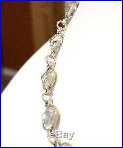 Vintage Deco Sterling Silver Bezel Set Rock Crystal Quartz Link Necklace
