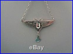 Vintage Enamelled Sterling Silver Art Deco Egyptian Revival Scarab Necklace