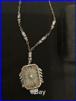 Vintage Estate Deco Edwardian Antique Camphor Glass Crystal Necklace Earring Set