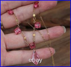 Vintage Necklace 9ct Gold Pink Paste Stones Jewellery Antique Art Deco 20s 30s