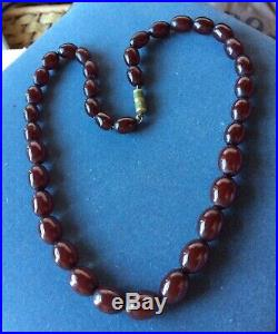 Vintage Red Cherry Amber Bakelite Graduated Bead Necklace Art Deco