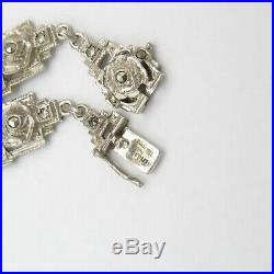 Vtg 1930s Art Deco German Sterling Silver Flower Marcasite Link Necklace