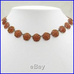 Vtg 1930s Art Deco Molded Flower Carnelian Glass Sterling Silver Necklace