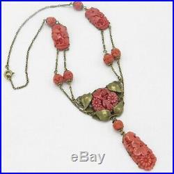 Vtg 1930s Art Deco Molded Flower Coral Glass Dangle Festoon Pendant Necklace