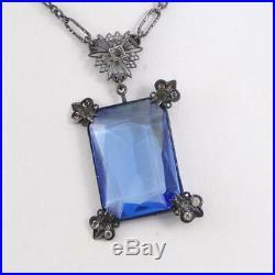 Vtg Antique Art Deco Sterling Silver Blue Glass Filigree Necklace 15 LFJ3