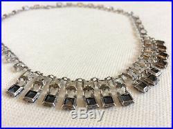 Vtg Antique Czech Dangle Necklace ART DECO Black White Crystal Bezel Open Back