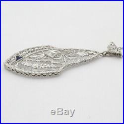 Vtg Art Deco 14k White Gold Filigree Diamond Sapphire Pendant Necklace