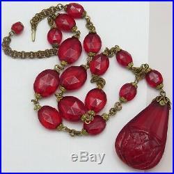 Vtg Art Deco Czech Cherry Red Mughal Tutti Frutti Molded Glass Pendant Necklace