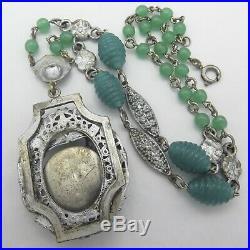 Vtg Art Deco Czech Chrysporase Molded Glass Flower Silver Tone Pendant Necklace