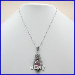 Vtg Art Deco Rhodium Plate Silver Filigree Pink Glass Enamel Pendant Necklace