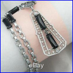Vtg Art Deco Silver Filigree Rhodium Plate Onyx Glass Geometric Pendant Necklace