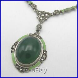 Vtg Art Deco Sterling Silver Natural Chrysoprase Enamel Marcasite Necklace
