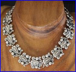Vtg LOPEZ Mexico Sterling Art Deco Repousse Link 17 In Necklace 60 Grams TAXCO